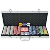 vidaXL Conjunto de póquer com 1000 fichas a laser, alumínio