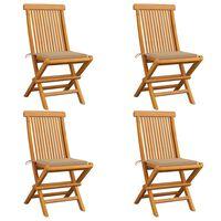 vidaXL Cadeiras de jardim c/ almofadões beges 4 pcs teca maciça