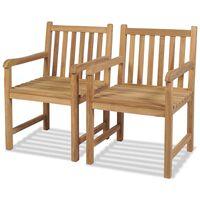 vidaXL Cadeiras de exterior 2 pcs madeira teca maciça