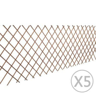 vidaXL Cerca em treliça salgueiro 5 pcs 180x90 cm