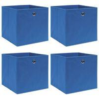 vidaXL Caixas de arrumação 4 pcs 32x32x32 cm tecido azul