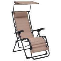 vidaXL Cadeira de pátio dobrável textilene cinzento-acastanhado