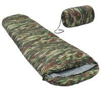 vidaXL Saco-cama campismo múmia infantil leve 670g 10 ºC camuflagem