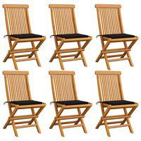 vidaXL Cadeiras de jardim c/ almofadões pretos 6 pcs teca maciça