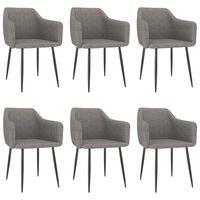 vidaXL Cadeiras de jantar 6 pcs tecido cinzento-claro