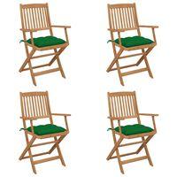 vidaXL Cadeiras de jardim dobráveis c/ almofadões 4 pcs acácia maciça