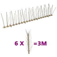 vidaXL Conjunto 6 picos para pássaros e pombos 5 filas 3 m plástico