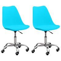 vidaXL Cadeiras de escritório 2 pcs couro artificial azul