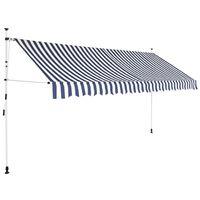 vidaXL Toldo retrátil manual 350 cm riscas azuis e brancas