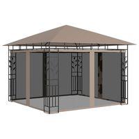 vidaXL Gazebo c/ rede mosquiteira 3x3x2,73m 180 g/m² cinza-acastanhado