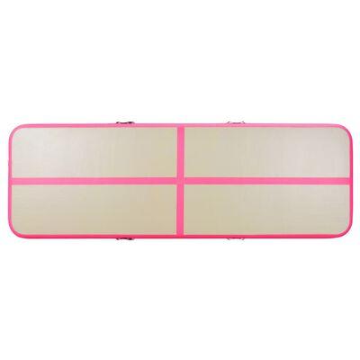 vidaXL Colchão de ginástica insuflável c/ bomba 800x100x10 cm PVC rosa