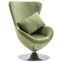 vidaXL Cadeira giratória forma de ovo c/ almofadão veludo verde-claro