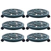 vidaXL Suportes com rodas para plantas 6 pcs 38 cm plástico verde