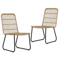 vidaXL Cadeiras de jardim 2 pcs vime PE cor carvalho