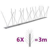 vidaXL Conjunto 6 picos pássaros e pombos 4 filas 3 m aço inoxidável