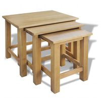 vidaXL Mesas de encastrar 3 pcs madeira carvalho maciça