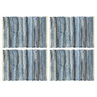vidaXL Individual de mesa 4 pcs chindi denim algodão 30x45 cm azul