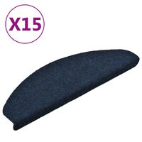 vidaXL Tapetes escada adesivos 15 pcs 65x21x4 cm agulhado azul-marinho