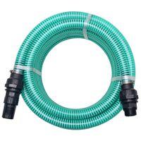 vidaXL Mangueira de sucção com conectores 7 m 22 mm verde
