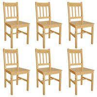 vidaXL Cadeiras de jantar 6 pcs madeira de pinho