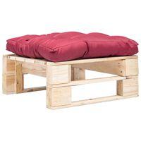 vidaXL Otomano de paletes com almofadão vermelho madeira natural