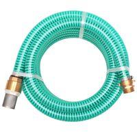 vidaXL Mangueira de sucção com conectores de latão 15 m 25 mm verde
