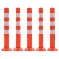 vidaXL Poste de amarração p/ controlo do trânsito 5 pcs plástico 75 cm
