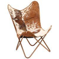 vidaXL Cadeira borboleta em couro de cabra genuíno castanho e branco