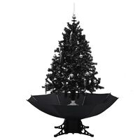 vidaXL Árvore Natal c/ neve base formato guarda-chuva 140 cm PVC preto
