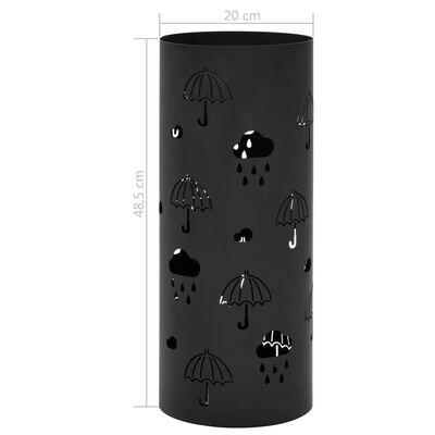 vidaXL Suporte para guarda-chuvas em aço preto