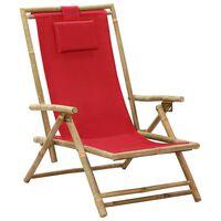 vidaXL Cadeira de descanso reclinável bambu e tecido vermelho