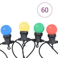 vidaXL Cordão lâmpadas exterior 60 pcs decoração de natal redondo 59 m