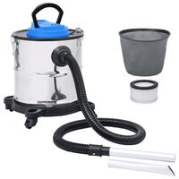 vidaXL Aspirador de cinzas com filtro HEPA 1200 W 20 L aço inoxidável