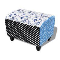 Tamborete otomano Patchwork estilo country com flores azul & branco
