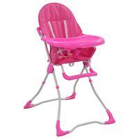 vidaXL Cadeira de refeição para bebé rosa e branco