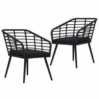 vidaXL Cadeiras de jardim com almofadões 2 pcs vime PE preto