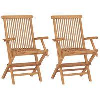 vidaXL Cadeiras de jardim dobráveis 2 pcs madeira de teca maciça