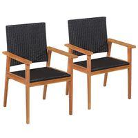 vidaXL Cadeiras de exterior 2 pcs vime PE preto e castanho