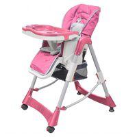 vidaXL Cadeira de bebé alta Deluxe rosa altura ajustável