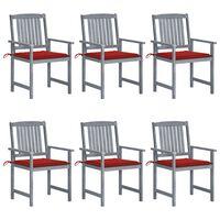 vidaXL Cadeiras de jardim c/ almofadões 6 pcs acácia maciça cinzento