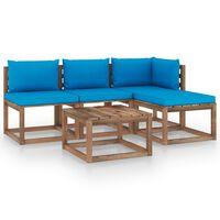 vidaXL 5 pcs conjunto lounge de paletes + almofadões pinho impregnado