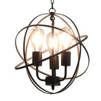 vidaXL Candeeiro de teto esférico em preto 3 lâmpadas E27