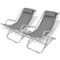 vidaXL Cadeiras de jardim reclináveis 2 pcs aço cinzento