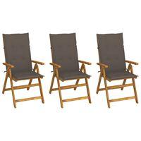 vidaXL Cadeiras de jardim dobráveis c/ almofadões 3 pcs acácia maciça