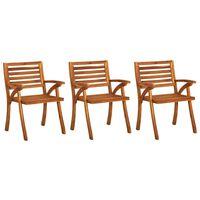 vidaXL Cadeiras de jardim 3 pcs madeira de acácia maciça