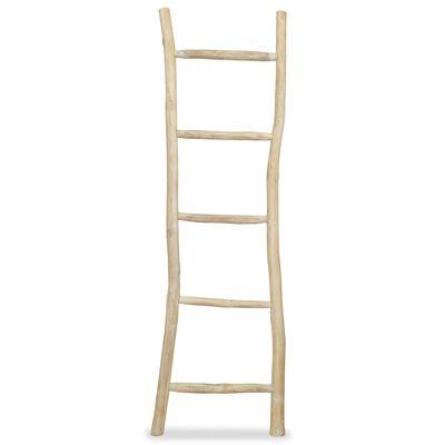 vidaXL Toalheiro escada com 5 degraus em teca 45x150 cm natural