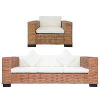 vidaXL 2 pcs conjunto de sofás com almofadões vime natural
