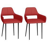 vidaXL Cadeiras de jantar 2 pcs couro artificial vermelho