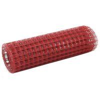 vidaXL Cerca arame galinheiro 25x0,5m aço c/ revestimento PVC vermelho