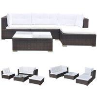 vidaXL 5 pcs conjunto lounge jardim c/ almofadões vime PE castanho